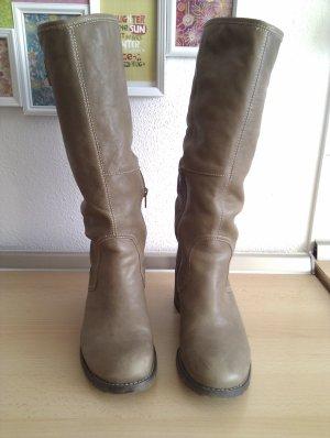 Schicke Echtleder-Stiefel mit Blockabsatz