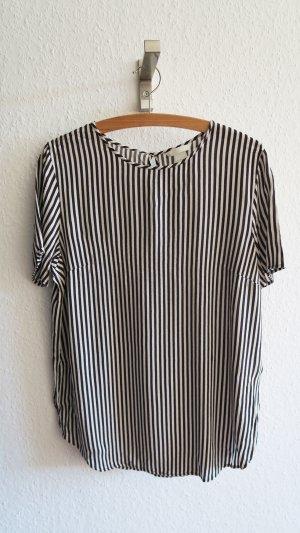 schicke gestreifte bluse Kurzarm schwarz weiß Größe 42 H&M