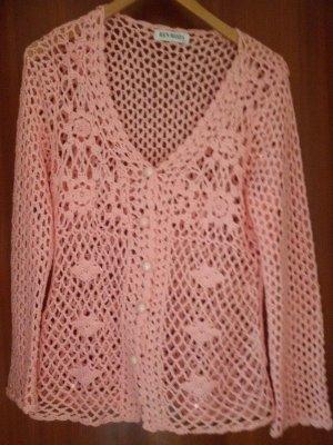 Cárdigan de ganchillo rosa claro-rosa