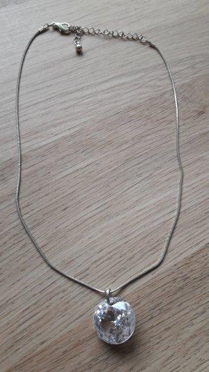 Schicke Halskette mit großem Anhänger Modeschmuck ohne Fassung silbern