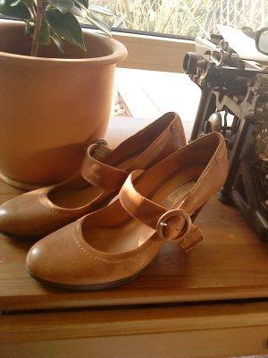 schicke High Heels in cognac Größe 41 van der Laan Leder