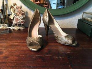 Schicke high heels Pumps schimmernd Gold Schlangen Muster Schuhe   Kurt Geiger