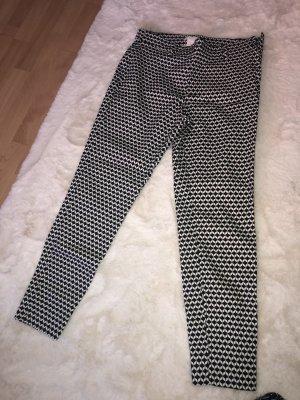 H&M Pantalón de pinza alto blanco-negro
