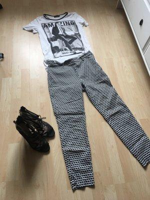 H&M Pantalone a vita bassa nero-bianco
