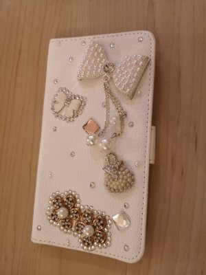 Étui pour téléphone portable blanc-argenté