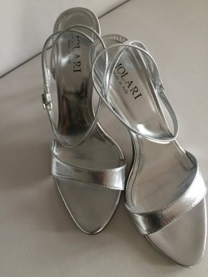 Strapped High-Heeled Sandals silver-colored leather