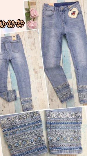 Pantalon strech bleu azur