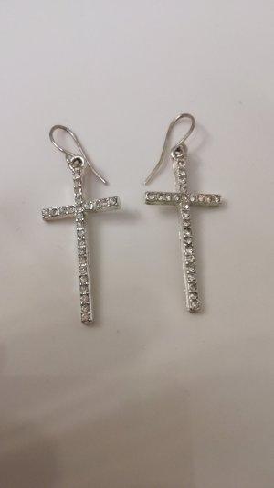 Schicke Kreuz Ohrringe mit Steinchen