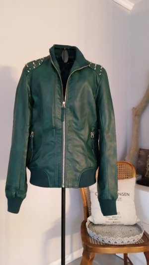 Faux Leather Jacket forest green imitation leather