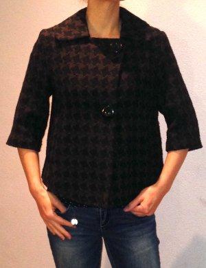 Schicke, kurze Jacke mit 3/4 Arm im schwarz/braunen Design