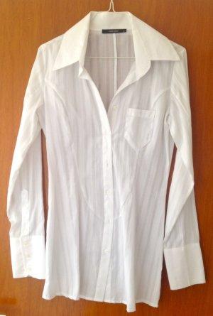 Schicke, längere, weiße Business Bluse