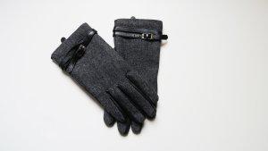 Mexx Leather Gloves black-dark grey leather
