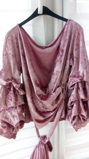 Blusa cruzada rosa empolvado