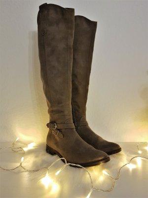 Schicke Overknee Stiefel 53cm von TAMARIS, Gr.38, Grau, Wildlederoptik