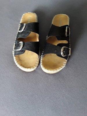 Moow Plateauzool Sandalen met Hoge Hakken zwart Leer