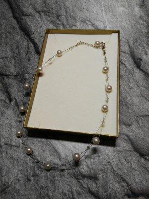Collar de perlas blanco-color plata