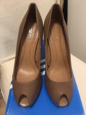 Zara Trafaluc Peep Toe Pumps grey brown