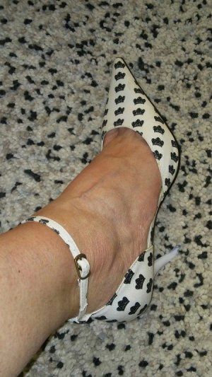 Escarpin à boucle blanc-noir tissu mixte
