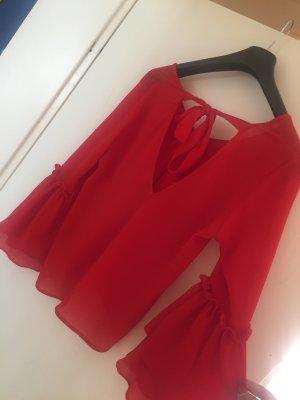 Schicke rote Bluse mit rücken Ausschnitt