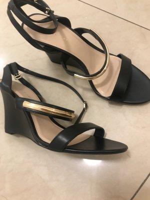 Sandales à plateforme noir faux cuir