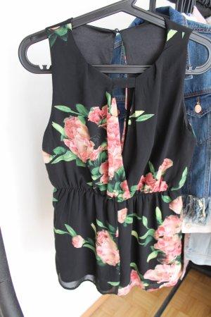 Schicke schwarze Bluse mit Blumenmuster