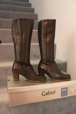 Schicke Schwarze Lederstiefel von Gabor