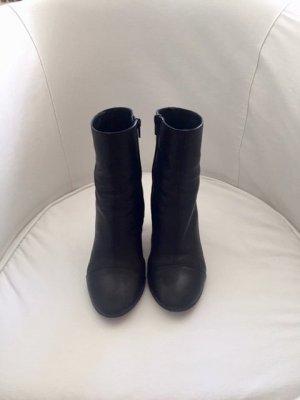 Zara Botas con cremallera negro Cuero