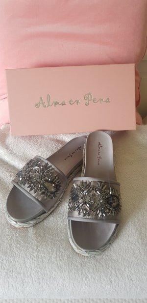 Alma en Pena Heel Pantolettes silver-colored-grey