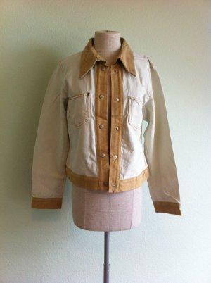 schicke,stylische Jeans Jacke von YGCC, Größe 36, hell mit Leder, kurz, Neu,