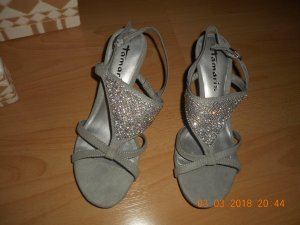 Tamaris Strapped High-Heeled Sandals light grey-silver-colored