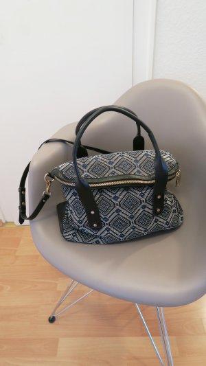 schicke Tasche mit Aztekenmuster dunkelblau gold
