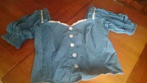 Blouse bavaroise bleuet-blanc coton