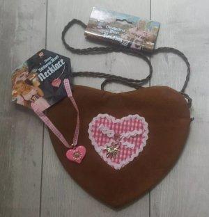 Schicke trachtenlook Handtasche/Beutel Oktoberfest in Herzform ❤ mit Kette NEU
