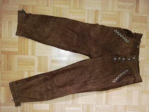 Schicke Velour Lederhose braun lang Gr 40 von Natural Life