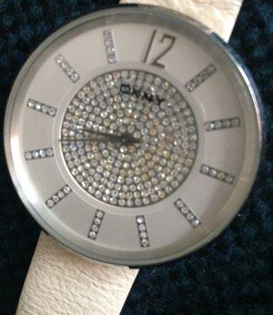 Schicke weiße Uhrvon DKNY, besetzt mit Swarovski Steinen