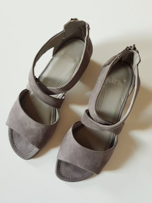 ara Strapped High-Heeled Sandals grey suede