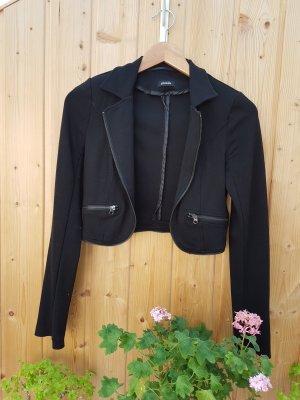 schicker Blazer schwarz kurze Jacke mit Kragen und Reißverschluss