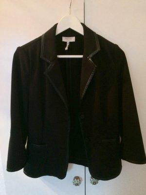 Schicker Blazer schwarz mit Lederanteil / Lederblazer Größe 36