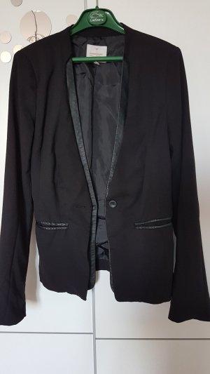 Schicker CLOCKHOSUE Blazer mit Lederappliaktionen