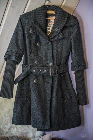 Khujo Winterjas grijs-zwart Wol