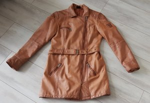 Colours of the World Leather Coat cognac-coloured