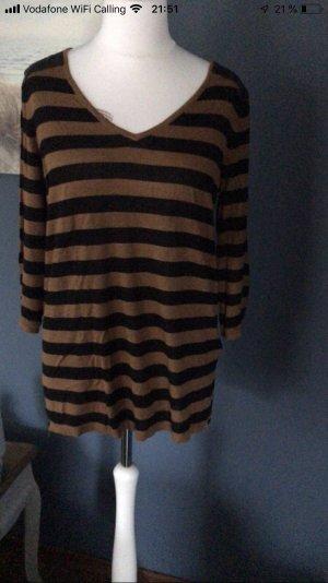 H&M Lange jumper bruin-zwart Viscose