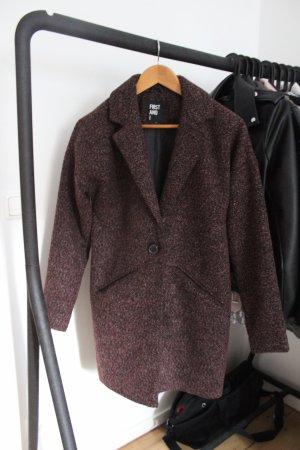 Asos Cappotto in lana bordeaux-nero