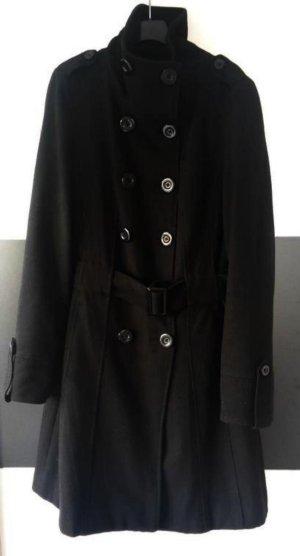 Schicker Mantel mit Knopfleiste, Gürtel und hohem Kragen Business Military 38