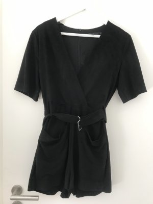Schicker samter Playsuit in Schwarz