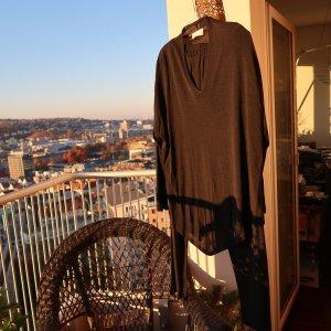 Tailleur-pantalon gris anthracite-noir viscose