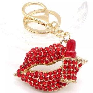 Schicker Schlüssel-/Taschenanhänger Kuss Mund Lippenstift aus Metall Strass NEU