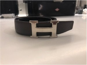 Hermès Reversible Belt black-dark grey leather