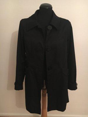 Schicker schwarzer Mantel, A-Linie, Größe 36