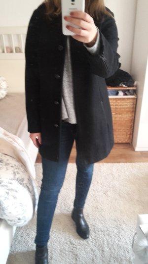 Schicker,schwarzer Mantel mit süßen Knöpfen und Lederverzierungen,M